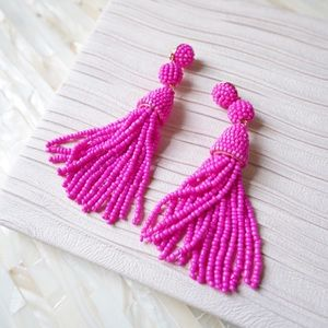 BaubleBar Granita Beaded Tassel Earrings Pink